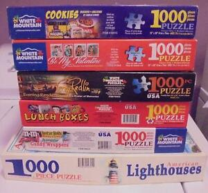 Lot of 6 White Mountain 1000 Piece Puzzles in Boxes Valentines Candy Cookies +++