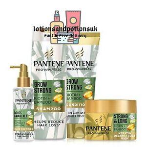 Pantene Pro-V GROW STRONG Shampoo, Conditioner, Roots Awakener & Mask - BUNDLE