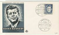 Germany 1964 J.F. Kennedy Picture Berlin Slogan Cancel FDC Stamps Cover Ref24065