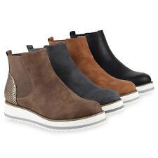 Sportliche Damen Chelsea Boots Warm Gefütterte Stiefeletten Wedges 812166 Schuhe