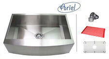 "30"" Stainless Steel CURVE Front Farm Apron Kitchen sink Zero Radius Ariel"