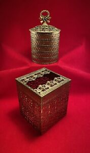 2 Hollywood Regency Brass Filigree Metal Tissue Box and Toilet Paper Holders