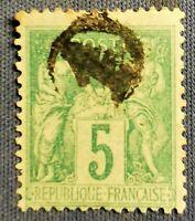 FRANCE TYPE SAGE (TB-1208-1) VERT TYPE II N°75 CACHET JOUR DE L'AN N° 1 TB