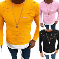 Men Fashion Ripped Long Sleeve T-Shirt Tops Crew Neck Slim Casual Pullover Tee