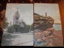 HANNIBAL MO - 2 RARE Postcards - CHRISTIAN CHURCH - LOVER'S LEAP