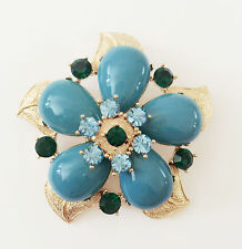 Pendant Charm Brooch Pin B1468A Gift New Bue Golden Floral Flower Crystal Enamel