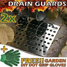 "2x Swirl Drain Guard  6""/15cm Square Rustproof Stainless Steel Cover Plate Grate"