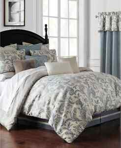 WATERFORD LINENS FLORENCE 4 PIECE FULL/ QUEEN COMFORTER SET PAISLEY BLUE WOVEN