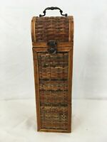 Vtg Wood Woven Rattan Brass Handle Clasp Wine Carrier Box