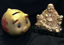**VINTAGE COLLECTiBLE GOLD FIGURINE SITTING HAPPY BUDDHA Budai & Lucky PIG BANK