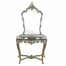 French Style Rococo Silver Carved Mahogany Console, Mirror & Black Marble Top