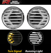 Chrome+Clear lens+Turn Signal LED Light+Running Light Fit 07-17 Jeep JK Wrangler