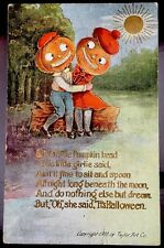 True Vintage Halloween Postcard Rare 1908 TAYLOR ART Pumpkin Courting