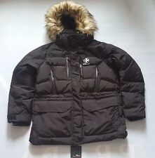 RLX RALPH LAUREN POLO BLACK LADIES EXPEDITION DOWN PARKA JACKET w FUR HOODIE XL