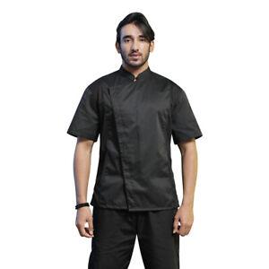 TopTie Unisex Black Chef Coat with Mesh Side Panels for Kitchen Restaurant
