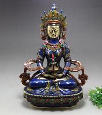 Old Chinese Cloisonne Brass Gild White Tara Spirit Compassion Goddess Statue h02