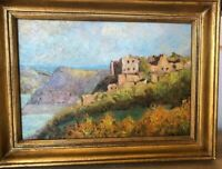 "VINTAGE 1961 FRENCH Landscape,""Mediterranean Village"", Signed"