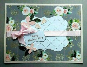MOTHER'S DAY CARD - THINKING OF YOU - DIE CUT - EMBOSSED - INSIDE VERSE