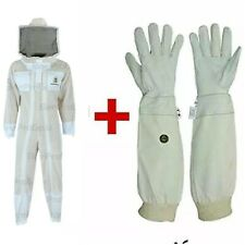 Double Zipper 3Layer Ultra Ventilated Bee Suit Round Veil+Free Gloves. White. M