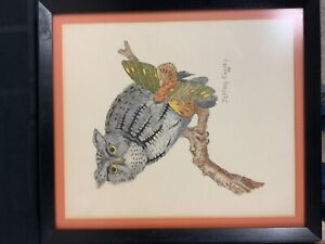 Jeffrey Easley signed Owl drawing (MM1787)