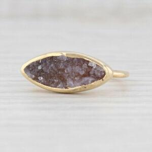 New Nina Nguyen Druzy Amethyst Ring Sterling Silver 22k Gold Vermeil Size 7.25