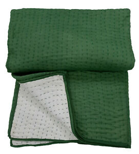 Indian Kantha Green Solid Quilt Bedcover Quilt Throw Home Decor Kantha Blanket