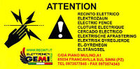 """TABELLA SEGNALETICA """"ATTENZIONE"""" recinti elettrici IN ALLUMINIO 10x20 CM"""