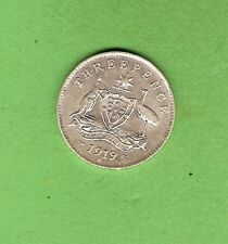 #C20. 1919  AUSTRALIAN STERLING SILVER THREEPENCE  COIN, NICE GRADE