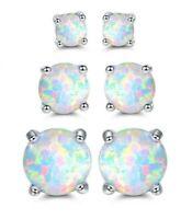 Sevil 18K White Gold Plated Created Opal Stud Earrings 3 Pack Set
