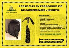 Porte clés en paracorde 550 noir-jaune v2 tressage cobra resistant, lavable etc.