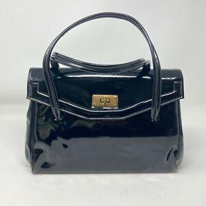 Vintage Black Patent Leather Top Handle Turn Lock Tote Handbag Zip Inner