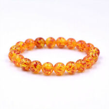 Natural Amber Stone Round Bead Bracelet Elastic Stretch Bangle 6MM 8MM 10MM 12MM