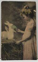 Little Pets Sweet Girl Feeding the Rabbits Gartner & Bender Pub. Postcard G15