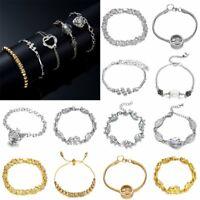 Elegant Women Crystal Heart CZ Bracelet Wedding Bridal Party Bangle Jewelry Gift