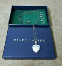 RALPH LAUREN  .925 Sterling Silver Dangling Heart Charm Women's  Necklace
