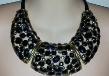 Black & Gold Designer Fashion Choker Necklace With Resin Stones