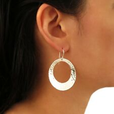 Hoops 925 Sterling Silver Hammered Circle Earrings Gift Boxed