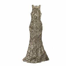 Ladies Gold Sequinned Full Length Sleeveless Fit & Flare Evening Dress M Medium