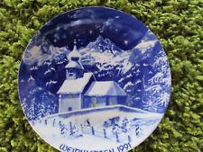 *Weihnachten 1991* Porzellan Sammelteller *Antoniuskircherl in Au* - Echt Kobalt