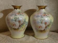 """Antique Pair Volkstedt Rudolstadt Beyer & Bock Porcelain Rose Baluster Vases 7"""""""