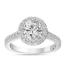 Platinum Diamond Engagement Ring, Halo Pave 1.59 Carat GIA Certified Handmade