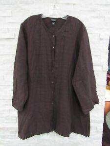 Eileen Fisher Raisin Viscose Linen Nylon Basket Crepe Band Collar Tunic Shirt XL