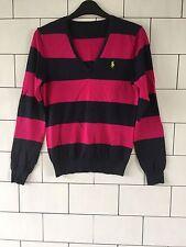 Women's anni'90 Stripe Vecchia Scuola Vintage con Ralph Lauren Maglione Taglia UK 8