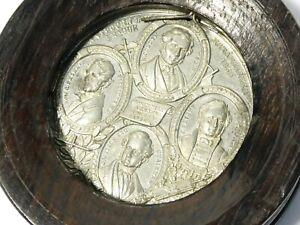 1846 Free Trade Anti-Corn Law Establishment Medal in Period Wood Frame #T209C