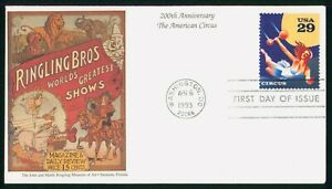 MayfairStamps US FDC Unsealed 1993 American Circus First Day Cover wwo99417