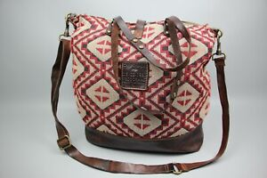 CAMPOMAGGI Aztec Tapestry Crossbody / Hand Bag Brown leather  Size Extra Large