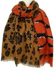 Animal Print Scarf Ladies Burnt Orange Brown Leopard Silver Zebra Stripes Shawl