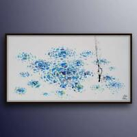 """Abstract 67"""" Original oil painting on canvas, calming cool tones, handmade item"""
