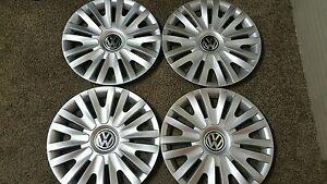 """61560 10-2014 15"""" VW Volkswagen Golf Passat Jetta Hubcaps Set of 4 Wheel Covers"""