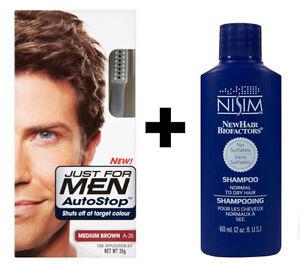 Just For Men AutoStop Mens Hair Colouring Dye Medium BROWN A35 + Nisim Shampoo